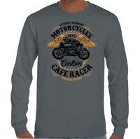 Custom Cafe Racer Mens Biker T-Shirt Motorbike Motorcycle Enthusiast Bike Top