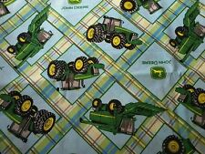 John Deere Farm Tractor Lime Green Plaid kitchen curtain window topper Valance