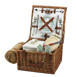 Picnic at Ascot Full Reed Willow Cheshire Basket for 2 with Blanket (702B)