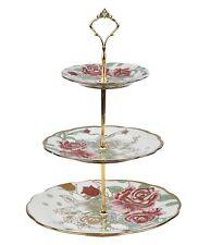 3 livello vintage floreale in ceramica Cake Stand Cupcake Matrimonio Tè PIASTRA A1