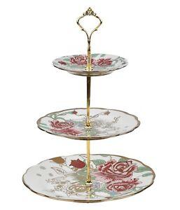 3 TIER VINTAGE FLORAL CERAMIC CAKE STAND CUPCAKE WEDDING PLATE TEA A1