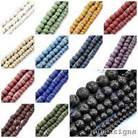 "Lava Bead Rock Round Beads 15"" Wholesale 6mm 8mm 10mm Jewelry Making Volcano"