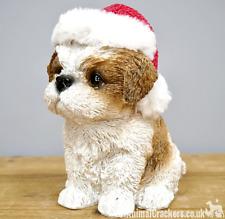 Shih Tzu Dog Puppy in Christmas hat & scarf festive ornament decoration figurine