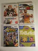 Lot Of Six (4) Nintendo Wii Games : NBA 2K10, KABOOKI, MADDEN NFL12 & CELEBRITY