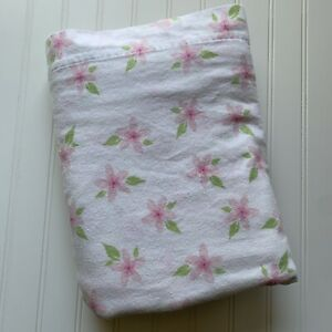 Flannel Flat Sheet Pink Green Florals Divatex Twin Size Sweet!