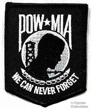 POW-MIA EMBROIDERED PATCH iron-on VIETNAM WAR - BLACK Prisoner of War Emblem