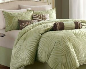 FREEPORT GREEN PALMS 7pc Queen COMFORTER SET : BEACH TROPICAL BED IN BAG