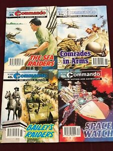 LOT OF 4 COMMANDO  2614 2643 2774 3021 British War Comic