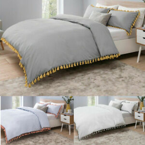 Sleepdown Tassels Grey With Mustard Bedding Set & Pillow Cases Single Double