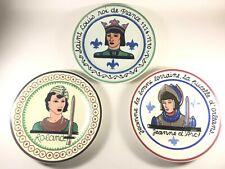 3 Vintage Mid Century Modern Gien France Plates for Galeries Lafayette Roland