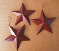 "3 AMERICANa  country RED  primitive  5.5"" Tin Metal Barn Star decor stars Sign"