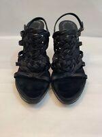 $650.00 Christian Dior Black Leather Heel Sandals Size 35.5