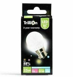 3W = 25W LED Golf Ball Bayonet BC B22 Light Bulb Lamp Warm White 25 Watt Globe
