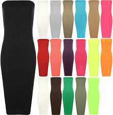 Women Ladies Boob Tube Strapless Bardot Stretch Plain Bodycon Midi Dress Party