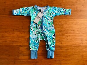 Bonds Green Blue White Leaves Dinosaur Jungle Zip Wondersuit Size 0000 NB BNWT