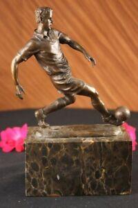 SIGNED BRONZE ARTDECO SCULPTURE SOCCER FUTBOL WORLD CUP TROPHY STATUE HOME DECOR
