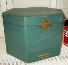 Antique Vintage VICTORIAN GREEN COLLAR BOX w Drawer Brass Latch Hexagonal Vinyl