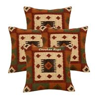 4 Set of Vintage Kilim Pillows Case 18x18 Hand Woven Jute Rugs Rustic 1120-DD