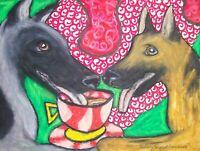 GERMAN SHEPHERD DOG Drinking Coffee Folk Pop Vintage Art 8 x 10 Signed Print