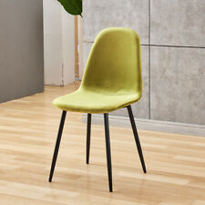 4x Premium Velvet Dining Side Chairs Metal Legs Dining Room Kitchen Lime Green