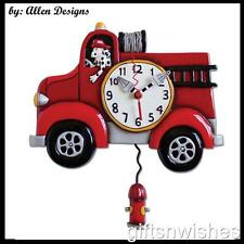 Fantastic Kids BIG RED Fire Truck Designer Pendulum Wall Clock by Allen Designs