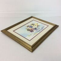 """Margaret Bedwell Jeans Pansies 1949 Framed Matted Signed Ready to Hang 16""""x13"""""""