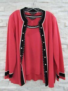 Ming Wang Pink Black White Washable Knit Jacket Cardigan & Tank Set Twinset 2X