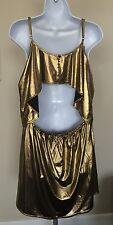 *NEW W TAG* GOLD BLACK LOVERS & FRIENDS WOMENS TIERED PLEATS CAMISOLE DRESS SZ L