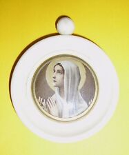 Vintage Our Lady Mary Picture In A Plastic Round Frame Pendant 7 Cms Diameter