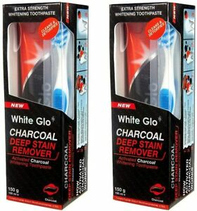 2xWhite Glo Charcoal Deep Stain Remover Toothpaste100ml with Sanitral Floss