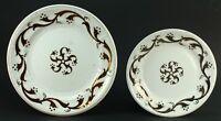 "! Antique ea.1800's Lusterware/Pearlware Pair of White Ironstone Plates 10"" & 8"""