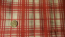 """Vintage Cotton Seersucker Fabric RED AND WHITE PLAID  1 Yd/44"""" Wide"""
