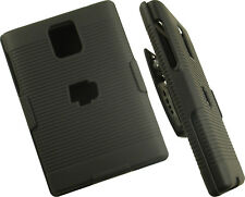 BLACK RUBBERIZED HARD CASE + BELT CLIP HOLSTER STAND FOR BLACKBERRY PASSPORT Q30