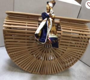 Purse Women Lady Bamboo Basket Tote Bag Wooden Beach Summer Handmade Handbag US
