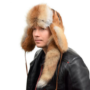 Genuine Men's Red Fox Fur Ushanka Hat III With Tail! Natural Warm Winter Cap Ski