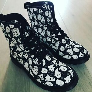 Cute Ghost Ladies Lace Up Boots, Festival, Punk, Halloween, Alternative 4-8.5