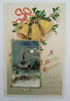 Vintage Christmas Postcard Snowy Church Scene Series 511 Original Embossed