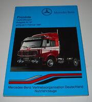 Preisliste Lastkraftwagen LKW Mercedes Pritsche Kasten Kipper Sattelzug 02/1991!