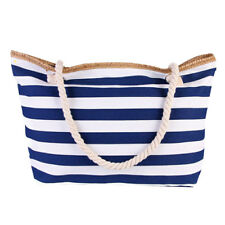 Tote Women Beach Bag With Zipper Pocket Navy Blue Striped Rope Handles Summer