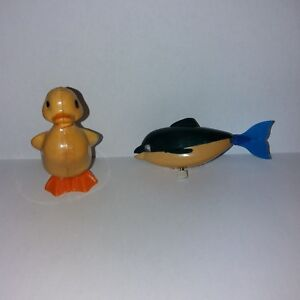 TOMY Wind-UP 1970's Whale and Duck Googly Eyes on Whale
