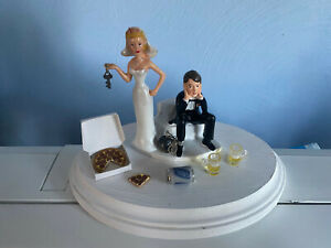 Bride Groom Wedding Cake Topper Funny Themed with Pizza Beer for 2 with mugs