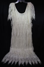 "Vintage LILLIE RUBIN Ivory Pointed Lace & Tule ""Drape"" Dress Womens Size 6-B45"