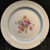 "Homer Laughlin Nautilus HLC81 Dinner Plate 9 7/8"" Blue Band Floral"