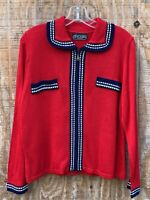 Vintage DYLANI Knitwear Sweater Size Medium Red Cardigan Sweater Gold Buttons