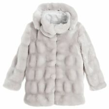 MICROBE BY MISS GRANT GIRLS GREY HOODED FUR COAT 4 YEARS
