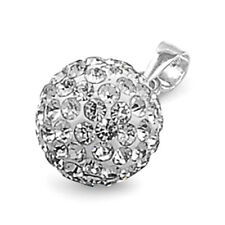 USA Seller Clear Crystal Ball Pendant Sterling Silver 925 Best Deal Jewelry 10mm