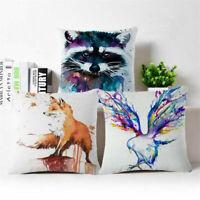 "18""*18' Splash-ink Fox Cotton Linen Throw Pillow Case Cushion Cover Home Decor"