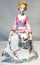 """VTG PORCELAIN FIGURINE LADY WITH Hat 6.5"""" X 5"""" PINK WHITE HAND PAINTED GOLD TRIM"""