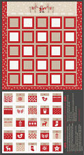 "Christmas Nordic Advent Calendar Cotton Fabric LEIC8-2 Scandinavia 24""X44"" PANEL"