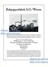Rohpappenfabrik Worms XL Reklame 1927 Papierfabrik Filz Pappe Fabrik Werbung +